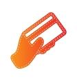 Hand holding a credit card Orange applique vector image vector image