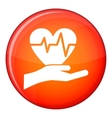Hand holding heart with ecg line icon flat style vector image vector image