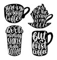 handwritten coffee phrases set coffee vector image vector image