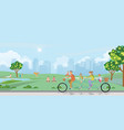 happy family cycling tandem bicycle in park vector image vector image