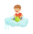 happy smiling little boy pouring water while vector image