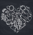 heart floral design with chalk onion garlic vector image
