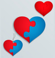heart with parts of the puzzle vector image
