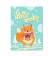 hello winter cute poster on vector image vector image