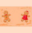 holly bright gingerbread man and woman vector image vector image