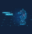 knight s move sign and low poly chess horse vector image vector image