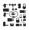 Lock icons set black silhouette vector image vector image