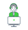 male person wearing headphones isolated vector image vector image