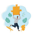 man run with big puzzle in his hands vector image