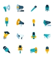 Microphone and megaphone icons flat vector image vector image