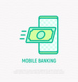 mobile banking banknote flying in smartphone vector image vector image