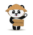 panda in a hat in the style of a cartoon stands vector image