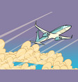 passenger plane flying in clouds vector image vector image