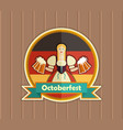 pretty bavarian girl with beer oktoberfest label vector image vector image