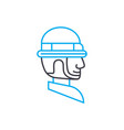 protective helmet thin line stroke icon vector image