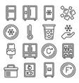 refrigerator and fridge icons set line style vector image