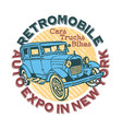 retromobile auto expo in new york print vector image vector image