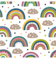 seamless pattern with colorful rainbows and clouds vector image vector image