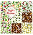 Seamless patterns of vegetables and mushrooms vector image vector image
