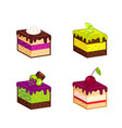 set of cakes pieces vector image vector image