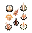 Set of icons depicting industry and agriculture vector image