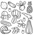 set of vegetable hand draw doodles vector image vector image