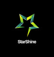 shiny green star logo symbol icon vector image vector image