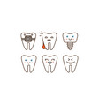 stomatology and dental line icons set cute teeth vector image
