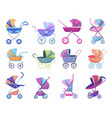 stroller baby-stroller and childish buggy vector image