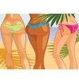 Three girls on beach vector image vector image