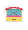 travel symbol with yellow vintage suitcase vector image vector image