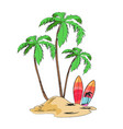 tropical island with palms and bright surfboards vector image vector image