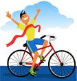 Winner on a bike vector image vector image