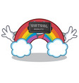 with virtual reality colorful rainbow character vector image