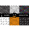 Halloween icons seamless patterns set vector image