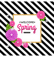 Spring flowers and gold frame Spring card vector image