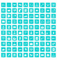 100 interaction icons set grunge blue vector image vector image