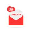 1000 followers thank you card vector image