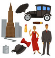 1920s fashion style and architecture clothes and vector image