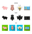 an unrealistic cartoonblackflat animal icons in vector image