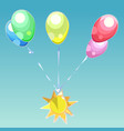 bouquet of colorful balloons with the emblem of vector image