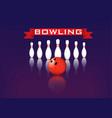 bowling red ball pins red ribbon vector image vector image