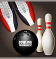 bowling shoes skittles and ball - bowling vector image vector image