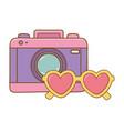 camera and heart sunglasses vector image