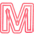 Capital letter M drawing with Red Marker vector image vector image