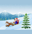 cartoon boy sledding down on the snow pulled by tw vector image