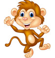 cartoon monkey waving vector image vector image