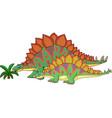 cartoon stegosaurus with her baby vector image vector image