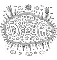 coloring page for adults with mandala and dream vector image vector image