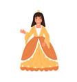 cute fairytale princess waving hand little girl vector image vector image
